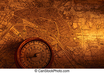 Antique Map - Old map of Paris with compass
