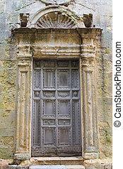 Ancient wooden church door