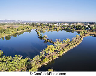 aerial view of lake natural area - aerial view of Riverbend...