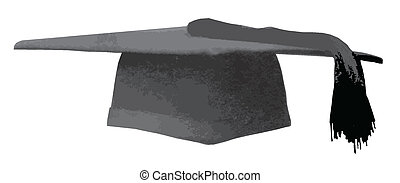 Mortarboard - A mortarboard students cap over a white...