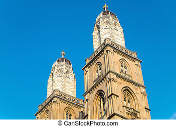The towers of the Grossmunster in Zurich in the last...