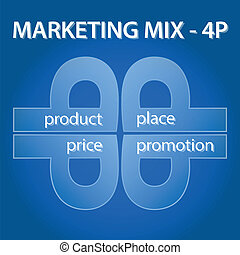 marketing mix infographic template on blue background - 4 P...