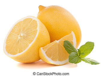 Lemon or citron citrus fruit isolated on white background...