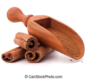 ground cinnamon spice powder in wooden spoon isolated on...