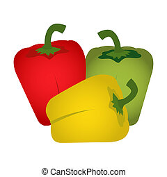 Sweet pepper - Green, red and yellow peppers isolated on a...