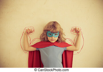 Girl power - Strong superhero child with drawn muscles Girl...