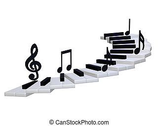 abstract piano staircase 3d - isolated on the white...