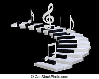 3d Piano stairway - 3d illustration