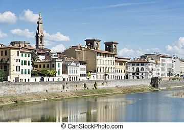 Houses and river Arno Florence - Image of houses and river...