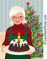 Grandmother and Christmas cake - Vector illustration of an...