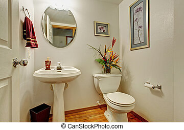 Restroom interior with flowers - Light ivory restroom...