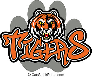 tiger mascot design - retro tiger mascot design with paw...