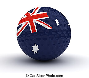 Australian Golf Ball (Isolated with clipping path)