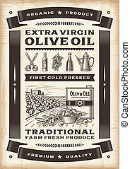 Vintage olive oil poster in woodcut style Editable EPS10...