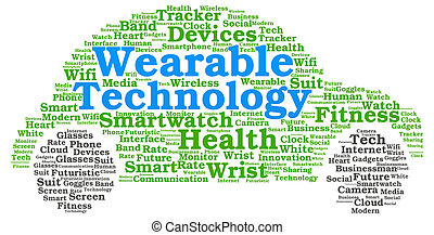Wearable technology word cloud in the shape of a car with...