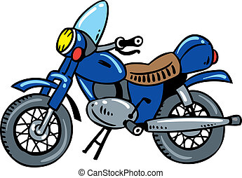 Motorcycle. - Children vector illustration of old blue...