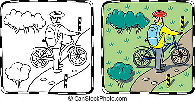 Cyclist with a bike. - Coloring book or coloring picture of...