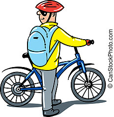cyclist with a bike. - Cyclist with a bike. Children vector...
