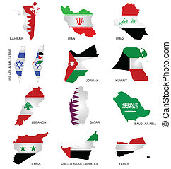 Gulf State Flags - Flags of Gulf Sates overlaid on outline...