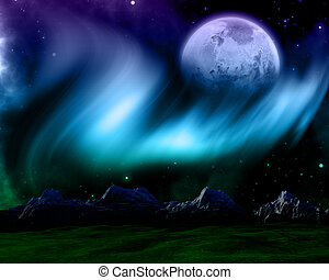 Abstract space scene with northern lights and fictional...