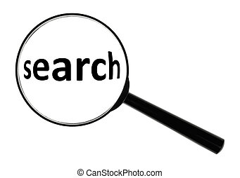 search - A magnifying glass against white background...