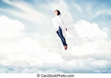 Girl in a clouds - Beautiful girl, flying in a white clouds