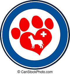Love Paw Print Blue Circle Banner