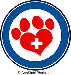 Love Paw Print Blue Circle Banner - Veterinary Love Paw...