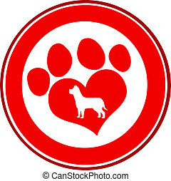 Love Paw Print Red Circle Banner