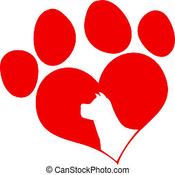 Red Love Paw Print With Dog Head