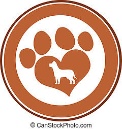 Love Paw Print Brown Circle Banner Design With Dog...