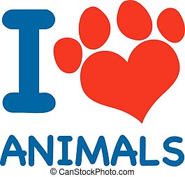 I Love Animals Text With Heart Paw Print In Red And Blue
