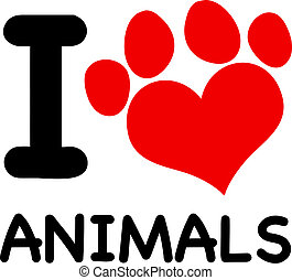 I Love Animals Text With Red Paw