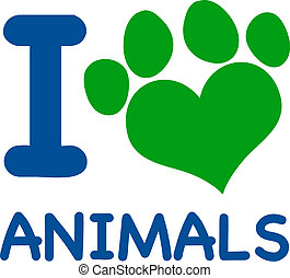 I Love Animals Text With Heart Paw