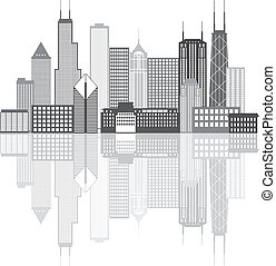 Chicago City Skyline Grayscale Illustration - Chicago...