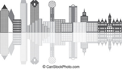 Dallas City Skyline Grayscale Illustration - Dallas Texas...