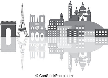 Paris France City Skyline Grayscale Illustration