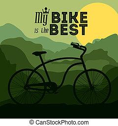 Bike design over landscape background, vector illustration