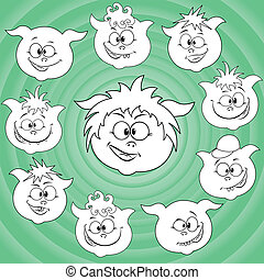 Funny cartoon piglet faces around big pig face - Funny small...