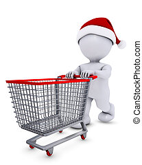 Morph Man with christmas shopping cart - 3D Render of Morph...