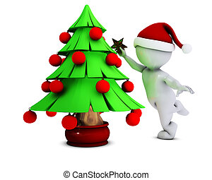 Morph Man with christmas tree - 3D Render of Morph Man with...