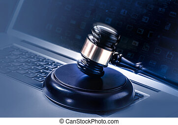 Law legal concept image gavel laptop