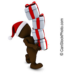 Morph Man with christmas gifts - 3D Render of Morph Man with...