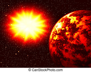 Explosion of the big star about a planet the earth