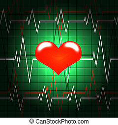 pulse heart screen - Red heart shined on a background of the...