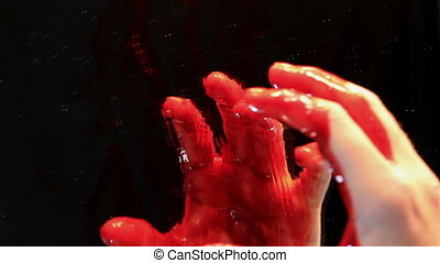 Bloody Hand in Mirror Horror or Halloween