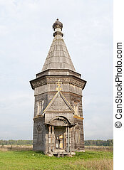 Ancient wooden church in Red Lyaga, Russia