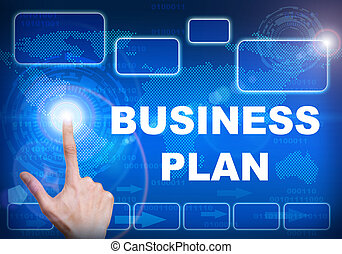 Touch screen digital interface of business plan concept -...