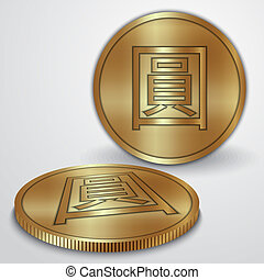 Vector illustration of gold coins with Chinese Yan currency...