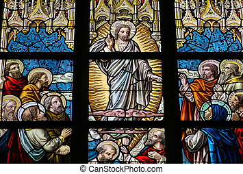 Pentecost - Leaded glass window in church of Alsemberg close...